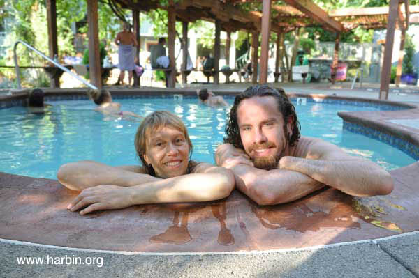 Couple in heart pool